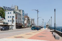 Street Scenario with Buildings and Promenade of Mukho Port, Donghae City, Gangwon Province, South Korea, Asia royalty free stock images