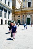 Tourists  at   Le strade nuove  ,Genoa , Italy. Situated in the heart of the city between the historical and the modern center, Piazza De Ferrari is renowned for Stock Image