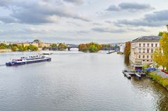 View of Prague, Czech Republic on the shore of Vltava. Situated in the northwest of the country on the Vltava River, Prague is the capital and the largest city stock photo