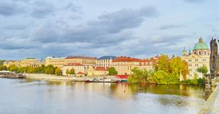 View of Prague, Czech Republic on the shore of Vltava. Situated in the northwest of the country on the Vltava River, Prague is the capital and the largest city royalty free stock photos