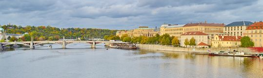 Panoramic view of Prague, Czech Republic, on the shore of Vltava. Situated in the northwest of the country on the Vltava River, Prague is the capital and the royalty free stock photos