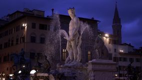 The Fountain of Neptune is a fountain in Florence, Italy Palazzo Vecchio slow motion. Situated on the Piazza della Signoria in front of the Palazzo Vecchio stock video