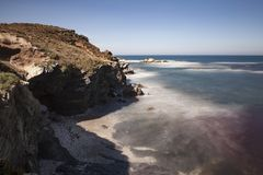 Fishermen`s Route, Alentejo Coast in southwest Portugal, with its rock formations and transparent waters. Situated in the south-west of Portugal, is stock images