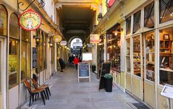 Situated in the 6th arrondissement of Paris, Cour du Commerce Saint-Andre is a curious little passageway built in 1776. Paris, France-26 November, 2017 royalty free stock photo