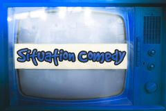 Situation comedy blue tv series genre television label old tv text sitcom vintage retro background. Situation comedy blue tv series genre television label old tv Royalty Free Stock Photo