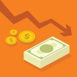 Situation de crise financière avec l'illustration du dollar illustration stock