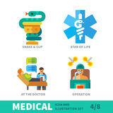 Situation in human therapy in medical icon set Royalty Free Stock Photo