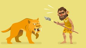 Situation meeting primitive hunter and saber-toothed tiger stock illustration