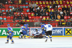 The situation at near the gate. During the World Cup match between hockey teams of the Estonia and Ukraine. Division I, Group B 15 April 2013. DS Druzhba in royalty free stock photo