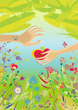 Situation in Paradise. Beautiful colorful illustration with male and female hands holding red apple in thropical garden with flowers, plants and fresh green Stock Photos