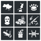 The situation in Ukraine Vector Icons Set Royalty Free Stock Image