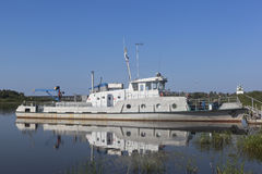 Situational ship `Nightingale` moored to shore of river Sukhona near the town of Totma, Vologda Region Royalty Free Stock Photos