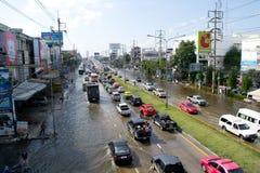 Situazione dell'inondazione in 2011 tailandese Immagini Stock Libere da Diritti