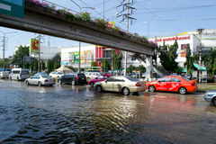 Situazione dell'inondazione in 2011 tailandese Fotografia Stock Libera da Diritti