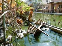 Situazione dopo l'inondazione pesante per un mese fotografie stock