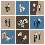 Situazioni aziendali differenti in ufficio Uomo d'affari che lavora con la sua squadra Segretario alla tavola Vettore isometrico illustrazione vettoriale
