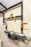 Situez le système de traitement des eaux résiduaires avec l'affichage, sondes et l'élisez Images stock