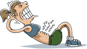 Situp Strain. A cartoon woman strains to do situps Stock Image