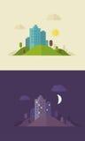 Sity piano di giorno e di notte di progettazione Immagine Stock Libera da Diritti