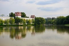 Sity ponds. Novodevichy Ponds Park in Moscow and Novodevichy convent in summer Stock Images