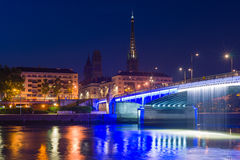 Sityscape of Rouen at night Stock Images