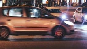 Sityscape-Zeitspanne der Abend-Stadt mit Auto-Verkehr stock video footage