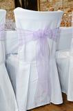 Sitzüberzug an der Hochzeit Stockbild