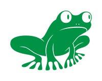 Sitzen des grünen Frosches des Zeichens lizenzfreie abbildung