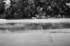 Sitzen durch den Rand des Flusses - Schwarzweiss Stockfotos
