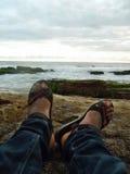 Sitzen im Strand Stockfotografie