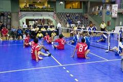 Sitzen-Volleyball der Männer für untaugliche Personen lizenzfreie stockfotografie