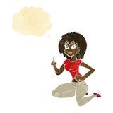 sitzende Frau der Karikatur mit Idee mit Gedankenblase Lizenzfreie Stockfotografie