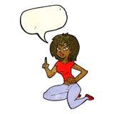 sitzende Frau der Karikatur mit Idee mit Spracheblase Stockbilder
