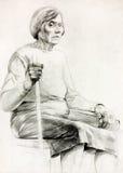 Sitzende Skizze der Frau lizenzfreie abbildung