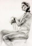 Sitzende Skizze der Frau stock abbildung