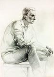 Sitzende Skizze des Mannes lizenzfreie abbildung