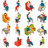 Sitzender Leute-isometrischer Ikonen-Satz Lizenzfreies Stockfoto