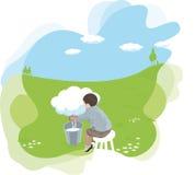 Sitzender Mann Cartooned, der von einer Wolke milk Stockbild