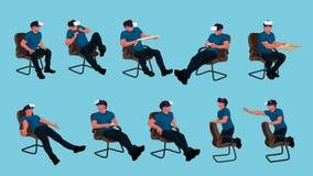 Sitzender Mannsatz Vr stock abbildung