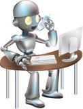 Sitzender Schreibtisch des Clipart Roboters Stockfotos