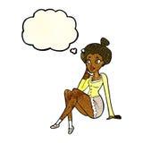 sitzendes Denken der attraktiven Frau der Karikatur mit Gedankenblase Stockbilder