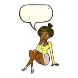 sitzendes Denken der attraktiven Frau der Karikatur mit Spracheblase Stockfotos