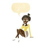 sitzendes Denken der attraktiven Frau der Karikatur mit Spracheblase Lizenzfreie Stockbilder