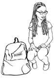 Sitzendes junges Schulmädchen Stockfoto
