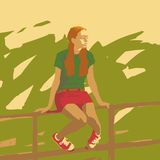 Sitzendes Mädchen Lizenzfreies Stockfoto