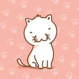 Sitzendes Zeichentrickfilm-Figur-Design der kleinen weißen Katze Vektor Abbildung