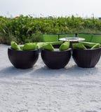 Sitzplätze auf dem Strand an St- Petersburgstrand, Florida Stockfotos