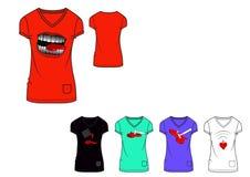 Sitzt-shirt Designdruckschablone der Mädchenkastenliebe Grafik dünne Stockfotos
