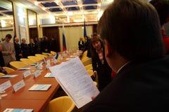 Sitzung der Köpfe der Außenpolitikministerien Stockfotografie