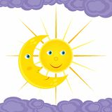 Sitzung des Mondes und der Sonne Lizenzfreies Stockfoto